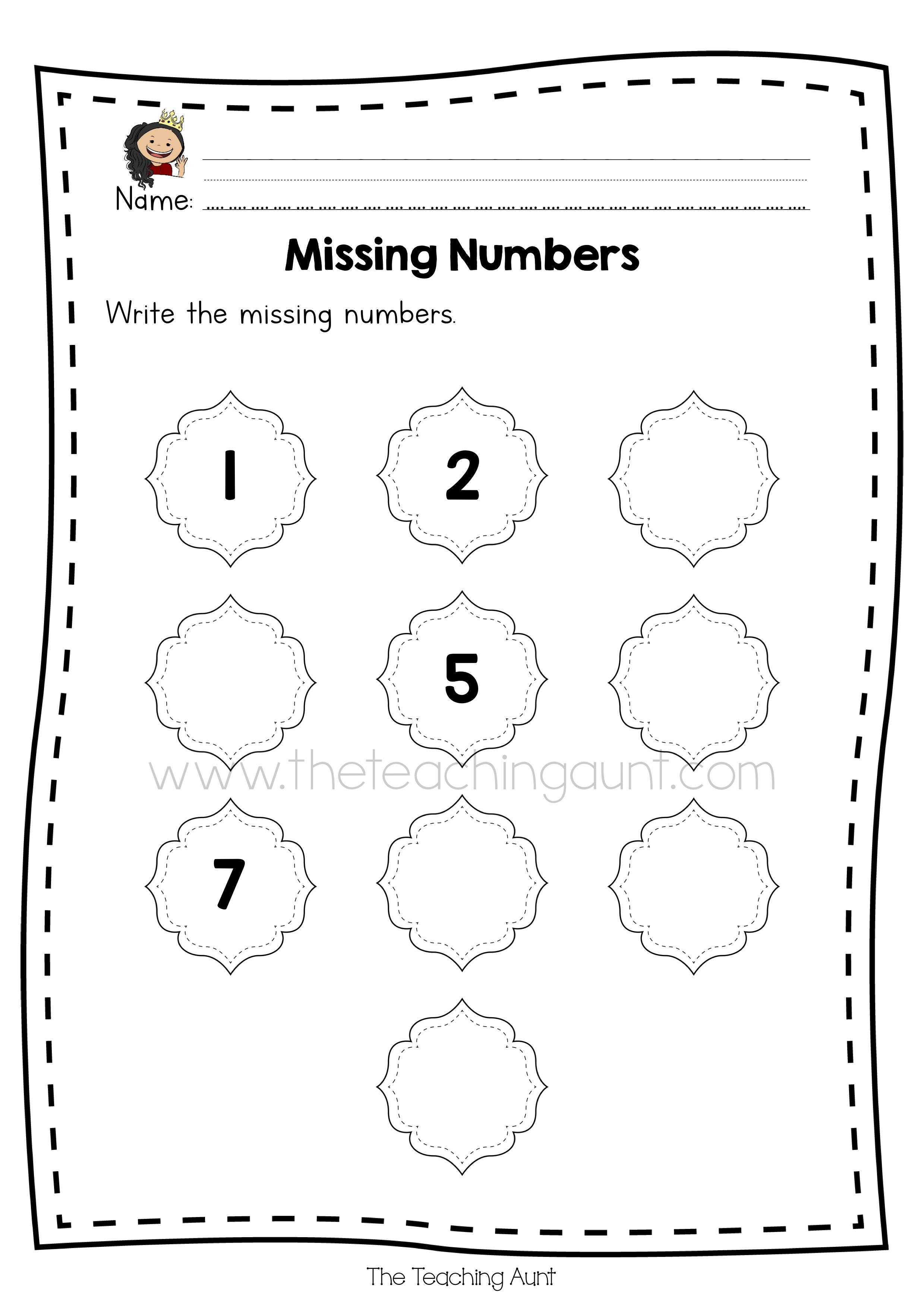 Free Missing Numbers Worksheets The Teaching Aunt in