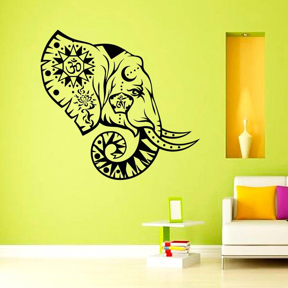 Top Selling Indian Pattern OM Sign Elephant Wall Sticker Black ...