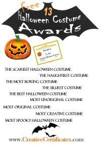 halloween award certificate