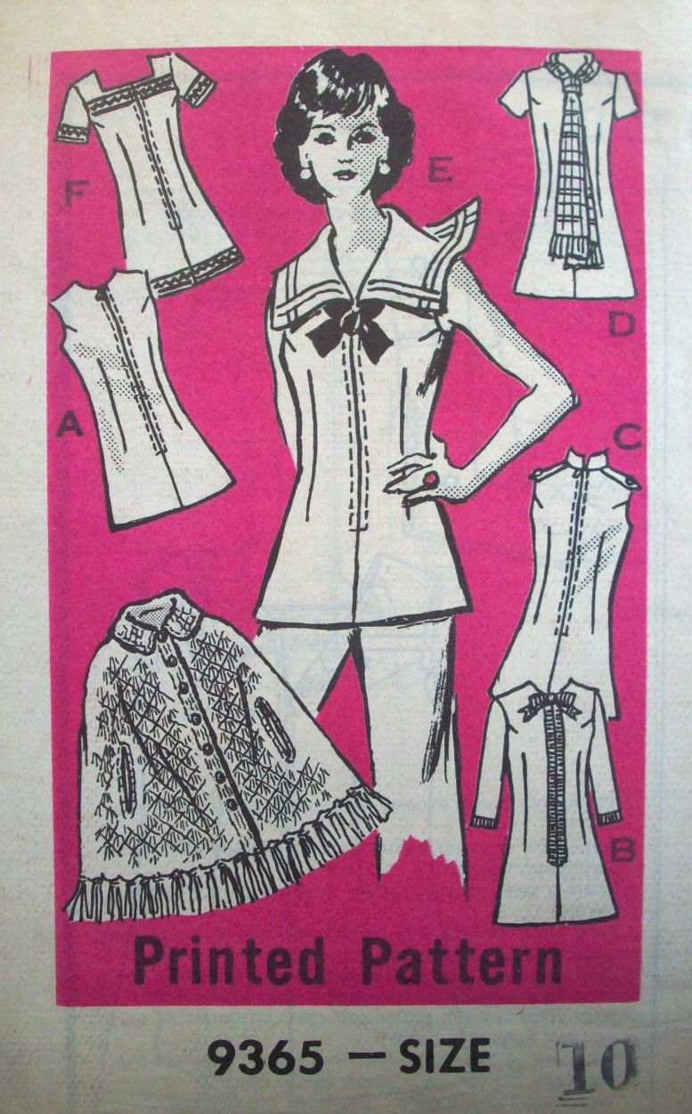 1960\'s? 1970\'s womens SAILOR TOP DRESS sewing pattern 9365 size 10 ...