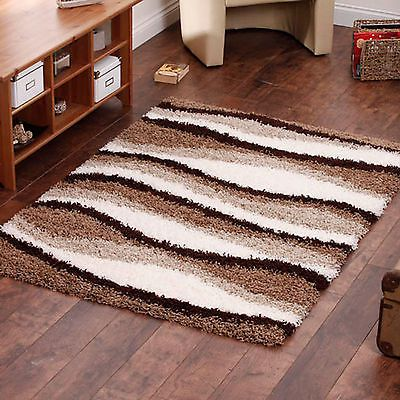 Small Extra Large Thick Beige Ivory White Brown Cream Wave Design Gy Rug