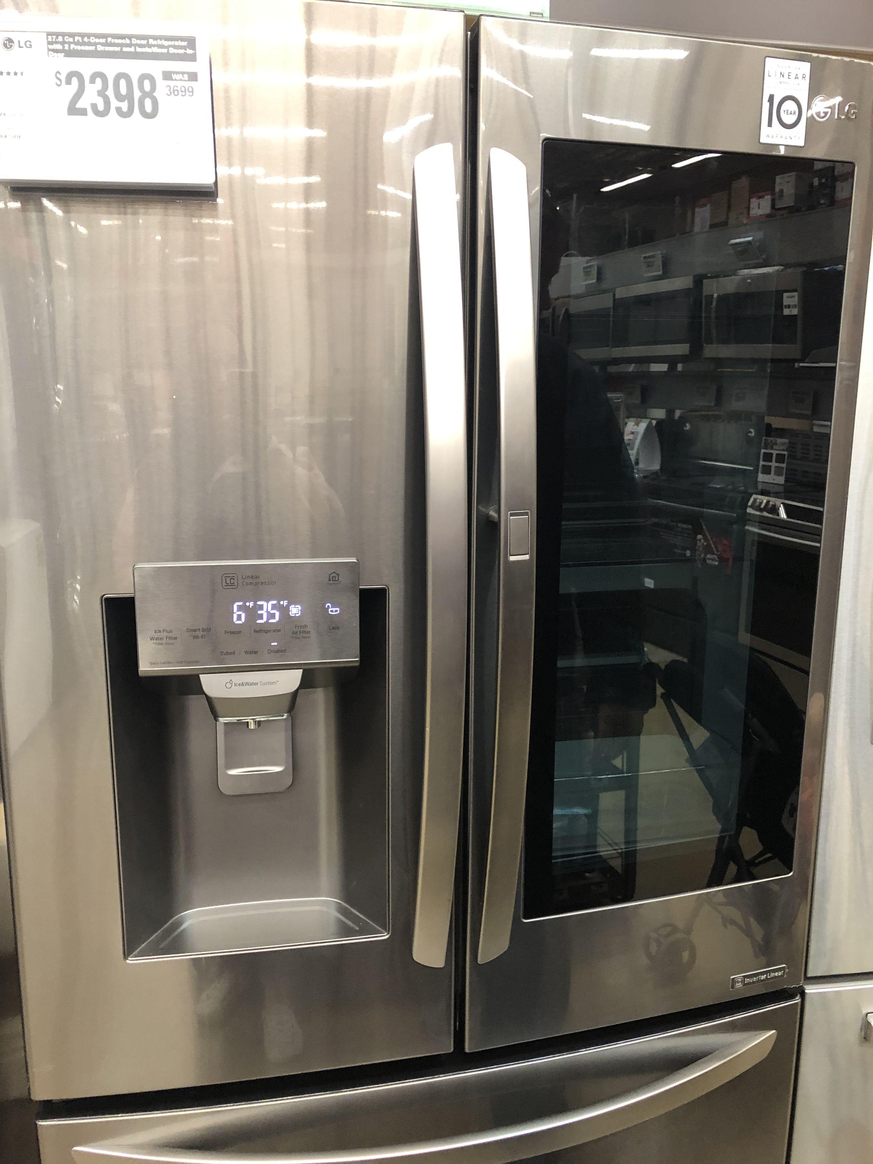 Lg Electronics 28 Cu Ft 4 Door Smart Refrigerator With Instaview Door In Door In Black Stainless Steel Lmxs28596d The Home Depot French Door Refrigerator Refrigerator Fridge Organization