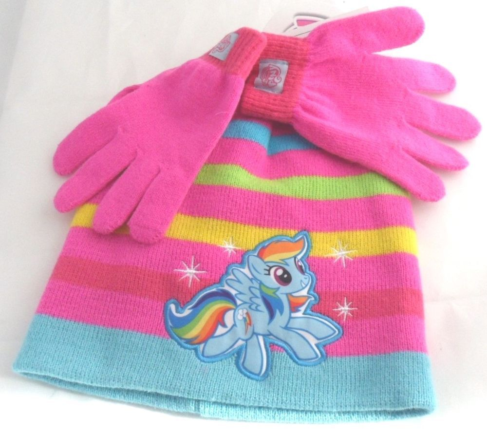 My Little Pony Knit Hat   Gloves Set Girls One Size Rainbow Dash NEW Winter  Snow  Berkshire  Beanie 7876fb47ff1
