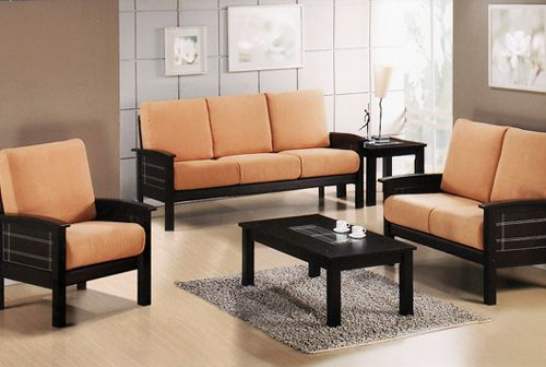 Black wooden sofa set with peach fabric of seats pretty for Living room seats designs