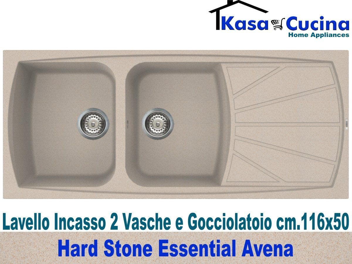 Lavello incasso cucina Hard Stone Essential Fragranite 2 Vasche e ...