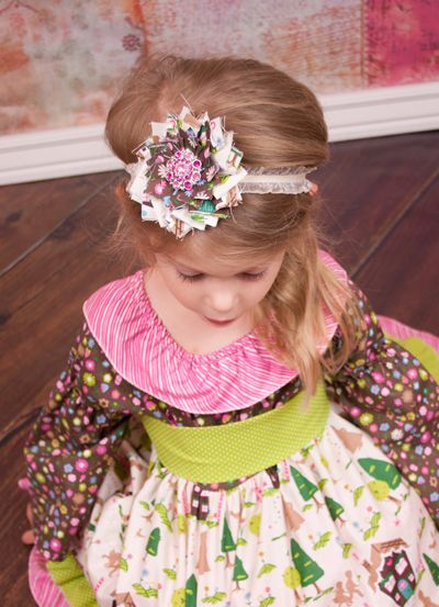 Shabby Victorian Double Bloom Headband in Storybook Christmas