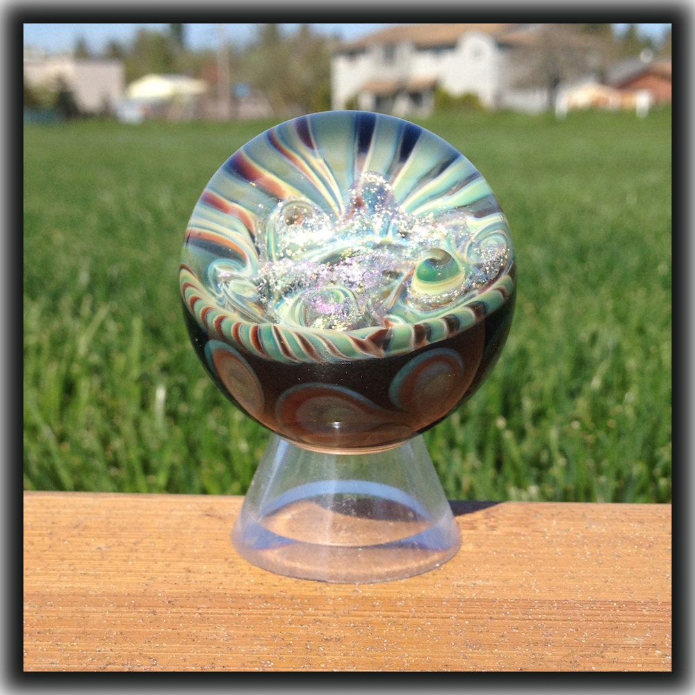 Heady Hunter Borosilicate Glass Art Gallery | Andy Ray Galactic Lattacino, Pinwheel Marble (9/13)