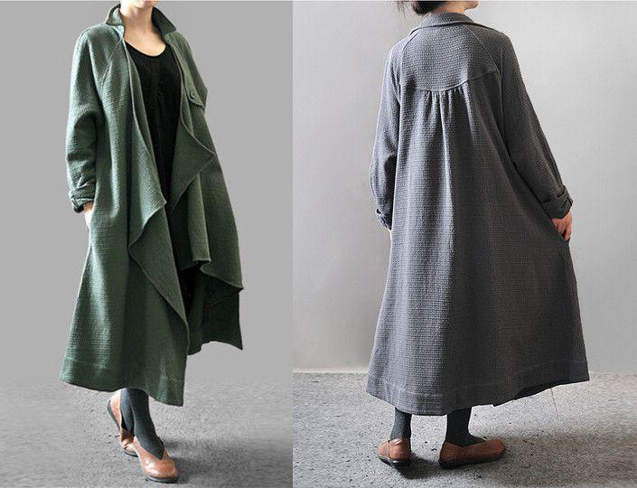 da76ccd514 BUYKUD-Women autumn and winter plus size Loose Fitting Coat - Buykud ...