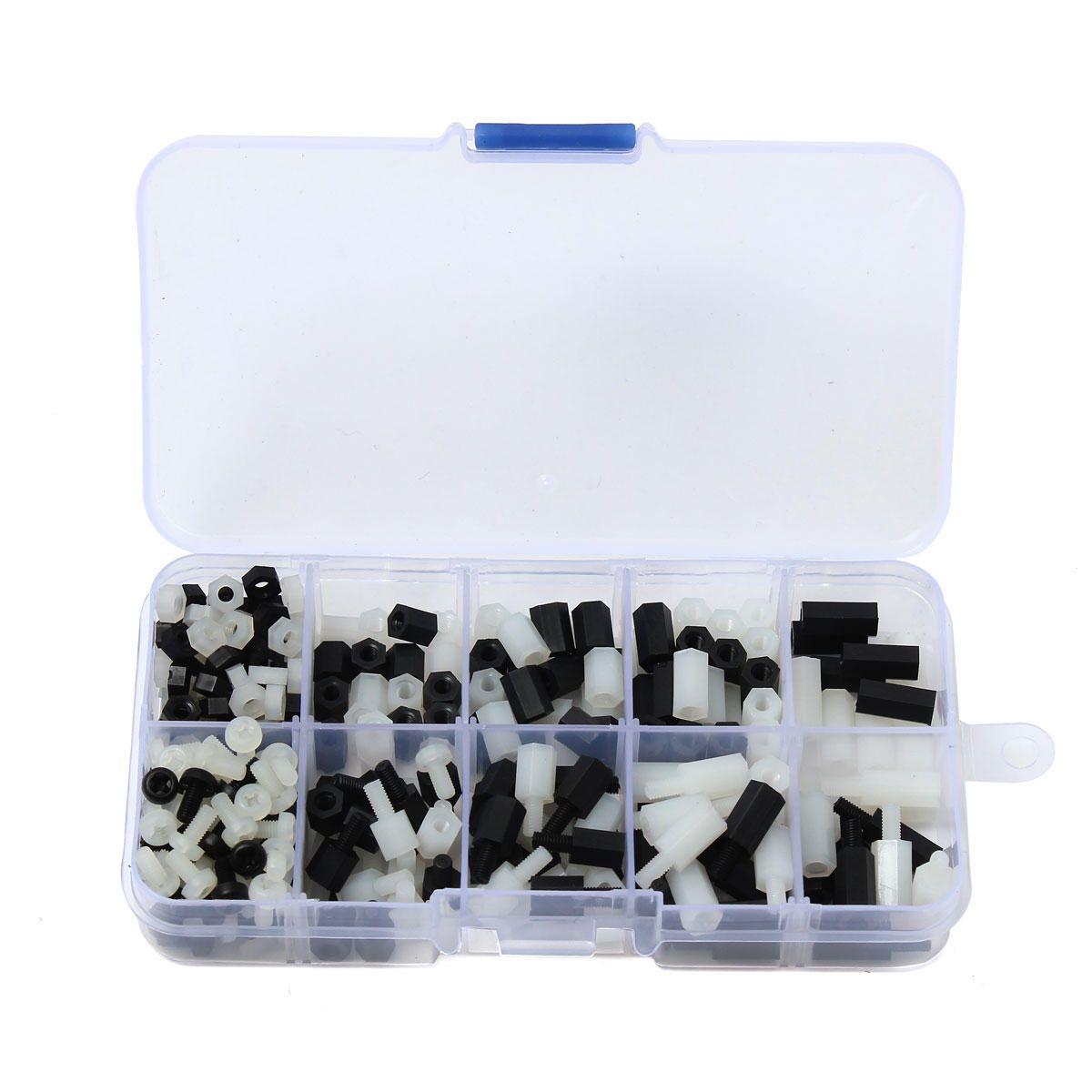 300pcs Lot M3 Nylon PCB Standoff Spacer Hex Screw Nut Assortment Kit W// Box