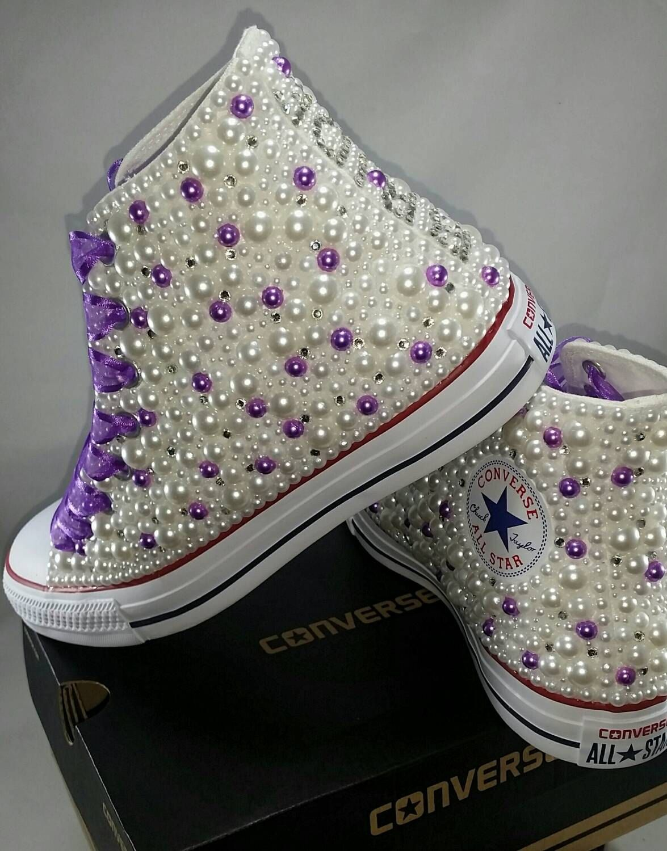 5bd4014f4e9 Bridal Converse- Wedding Converse- Bling   Pearls Custom Converse Sneakers-  Personalized Chuck Taylors