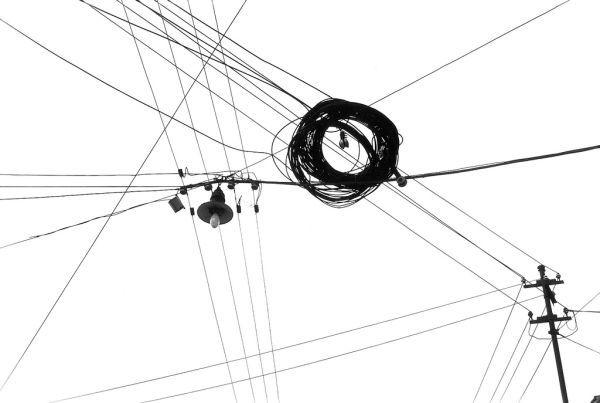 power lines in Clausemburgo Cluj Romania black white sky street ...