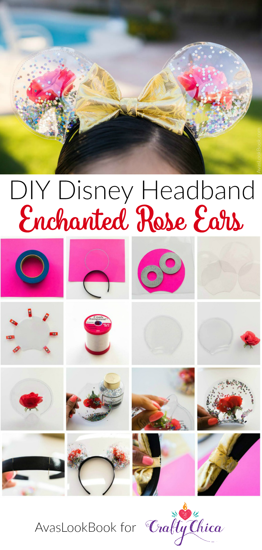 dab8459f40d8 DIY Mickey Ears  Enchanted Roses for Beauty and the Beast