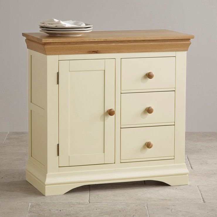 Oak And Painted Storage Cabinet