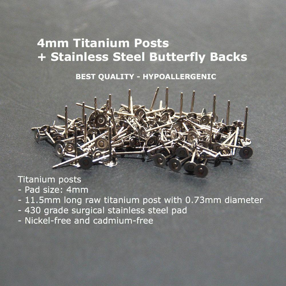 Titanium Nickel Free 4mm Flat-Pad Earring Posts and Backs findings 100pcs