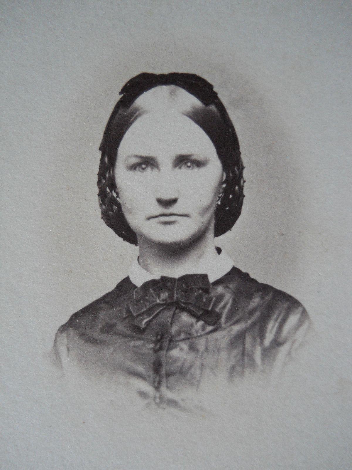 portrait beautiful lady hair snood antique civil war era cdv