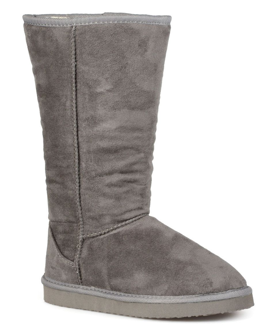 Love this Journee Collection Gray Classic Plush Boot by Journee Collection on #zulily! #zulilyfinds
