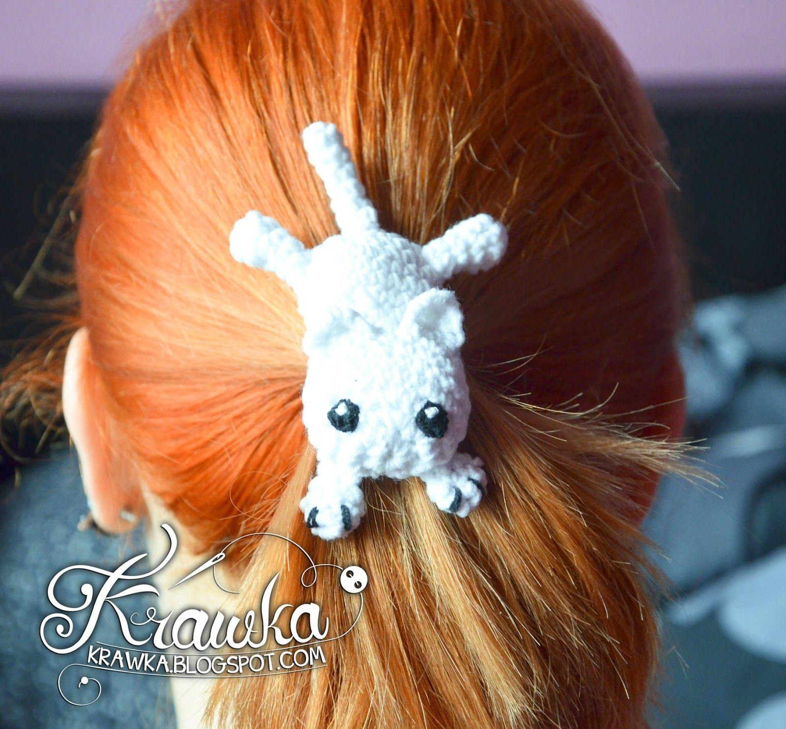 Krawka: Little white kitten - Crochet hair accessory with free ...