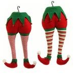 "RAZ Elf Butt and Legs - Assorted Styles  Assorted Styles - choose by leg color Made of Polyester Measures 20"" X 9.5""  Whimsical elf torso (butt and legs), has a large hook for hanging in tree,"