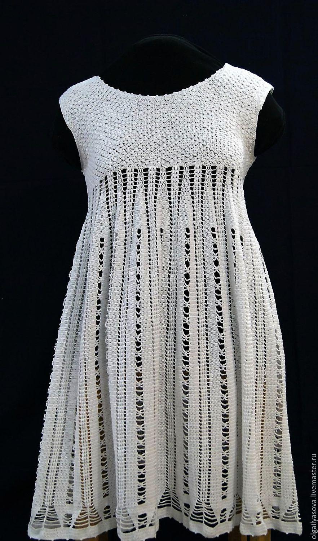 Купить Белое нежное платье - белый, однотонный, вязаное платье крючком, ручная работа