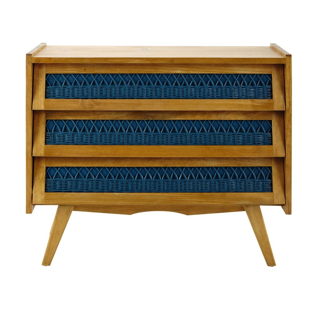 France | €279,90 Commode vintage en bois et rotin turquoise L 91 cm ...