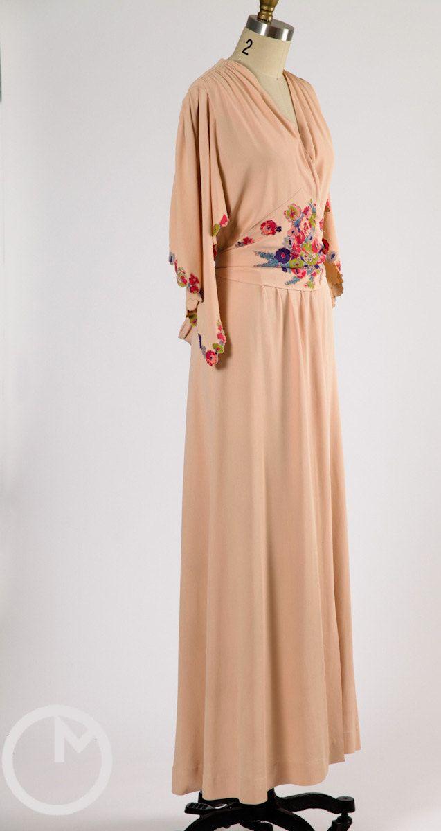 1930s dressing gown 30s robe rayon vintage dresses. Black Bedroom Furniture Sets. Home Design Ideas