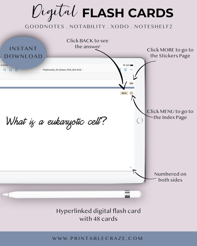 Digital flash cards for goodnotes flashcards index card