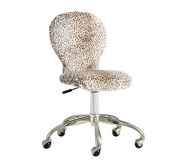 Round Upholstered Desk Chair Brushed Nickel Base In 2020