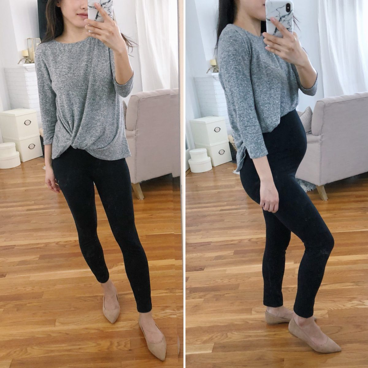 9398e11ed1535 Super affordable and petite-friendly cropped maternity leggings Maternity  Leggings Outfit, Maternity Work Clothes