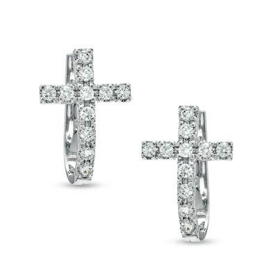Zales 1/6 CT. T.w. Diamond Cross Hoop Earrings in Sterling Silver 06Tv6U5o