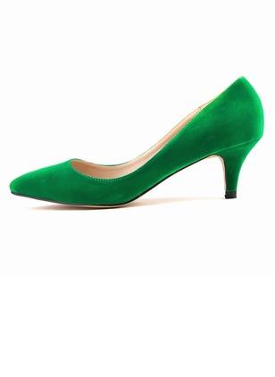 Women's Closed Toe Heels Suede Low Heel 3