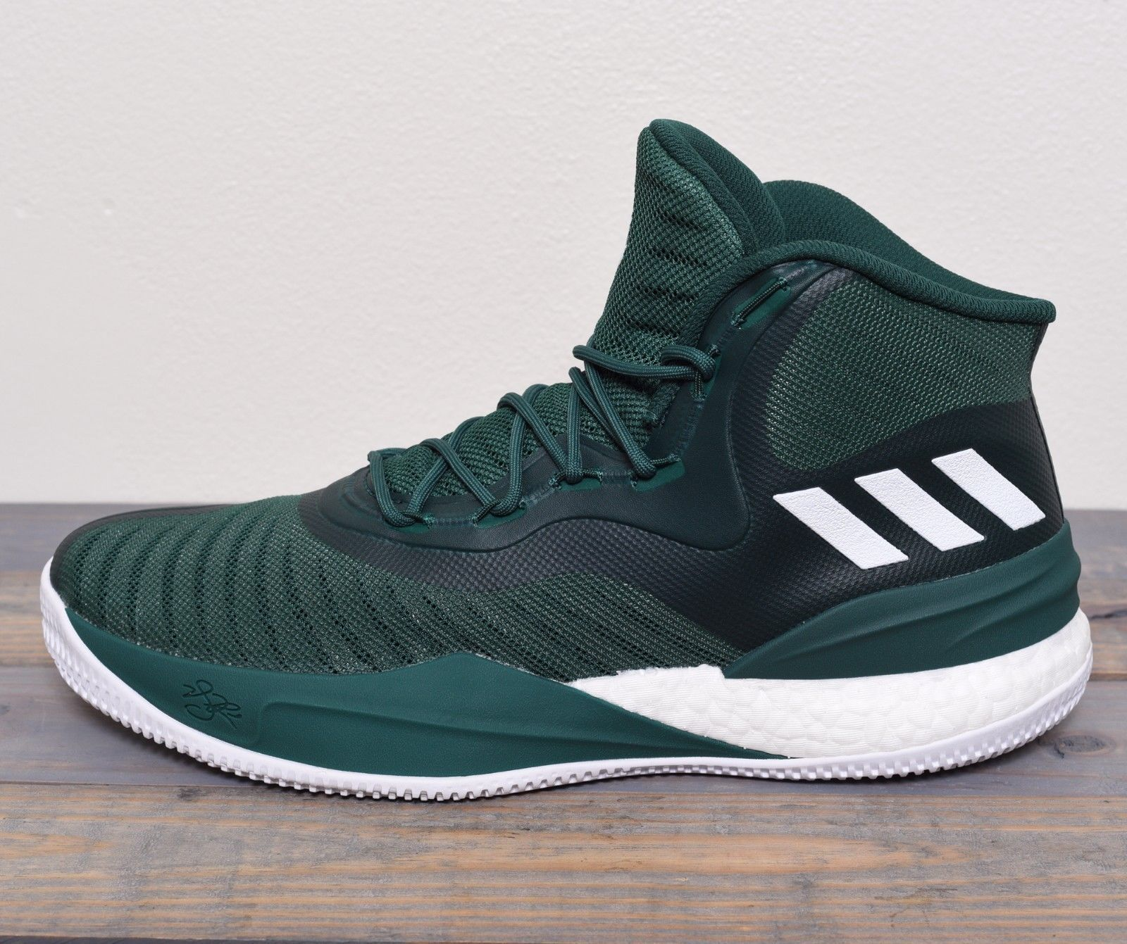 6cd7e7986b87 Adidas D Rose Basketball Shoes Men Size 11.5 Sneaker NBA Green White New  CQ1628