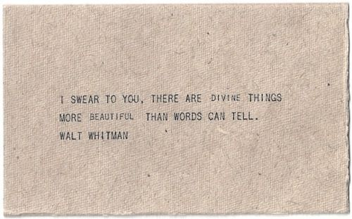 I swear to you, there are divine things more beautiful than words can tell. Walt Whitman