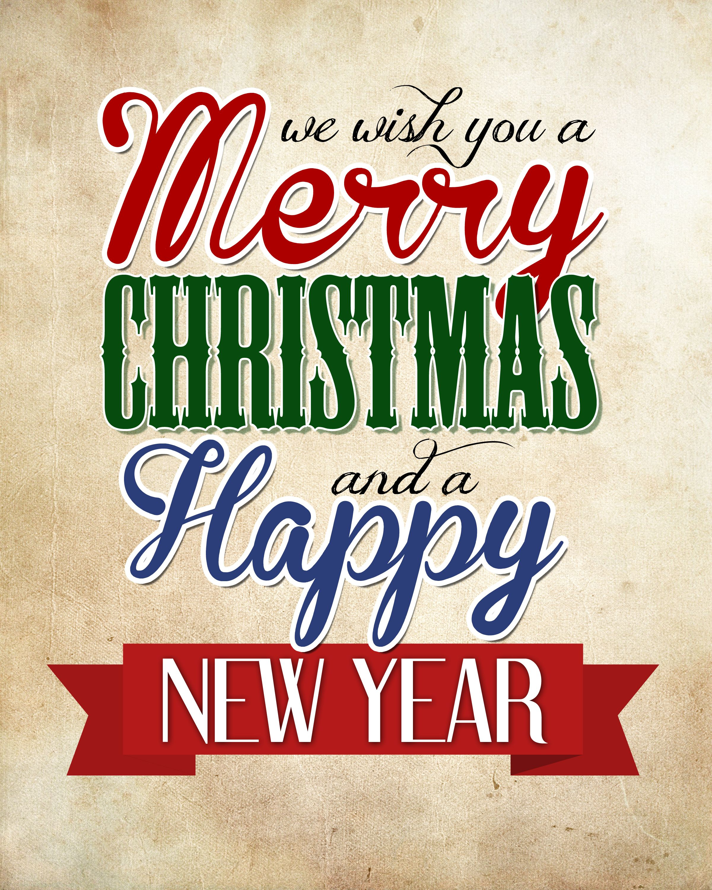 Merry Christmas & Happy New Year Free Printable Merry