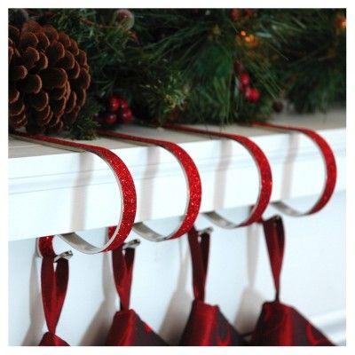 Christmas 4pk Original Mantle Clip Stocking Holder Red Glitter
