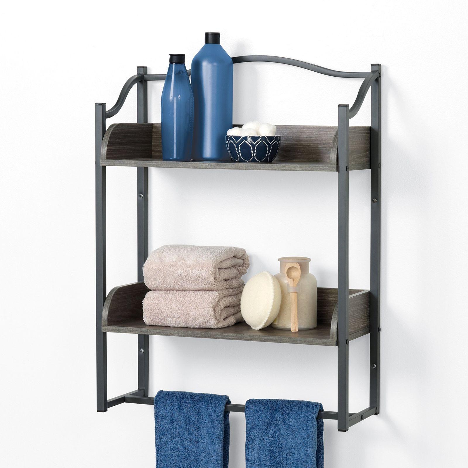 zenna home 8712gy 2tier metal bathroom wall shelf