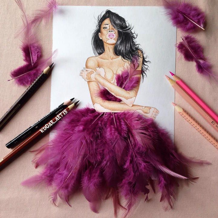 Photo of Real Life Objects Used as Playful Ingredients for Fabulous Fashion Illustrations