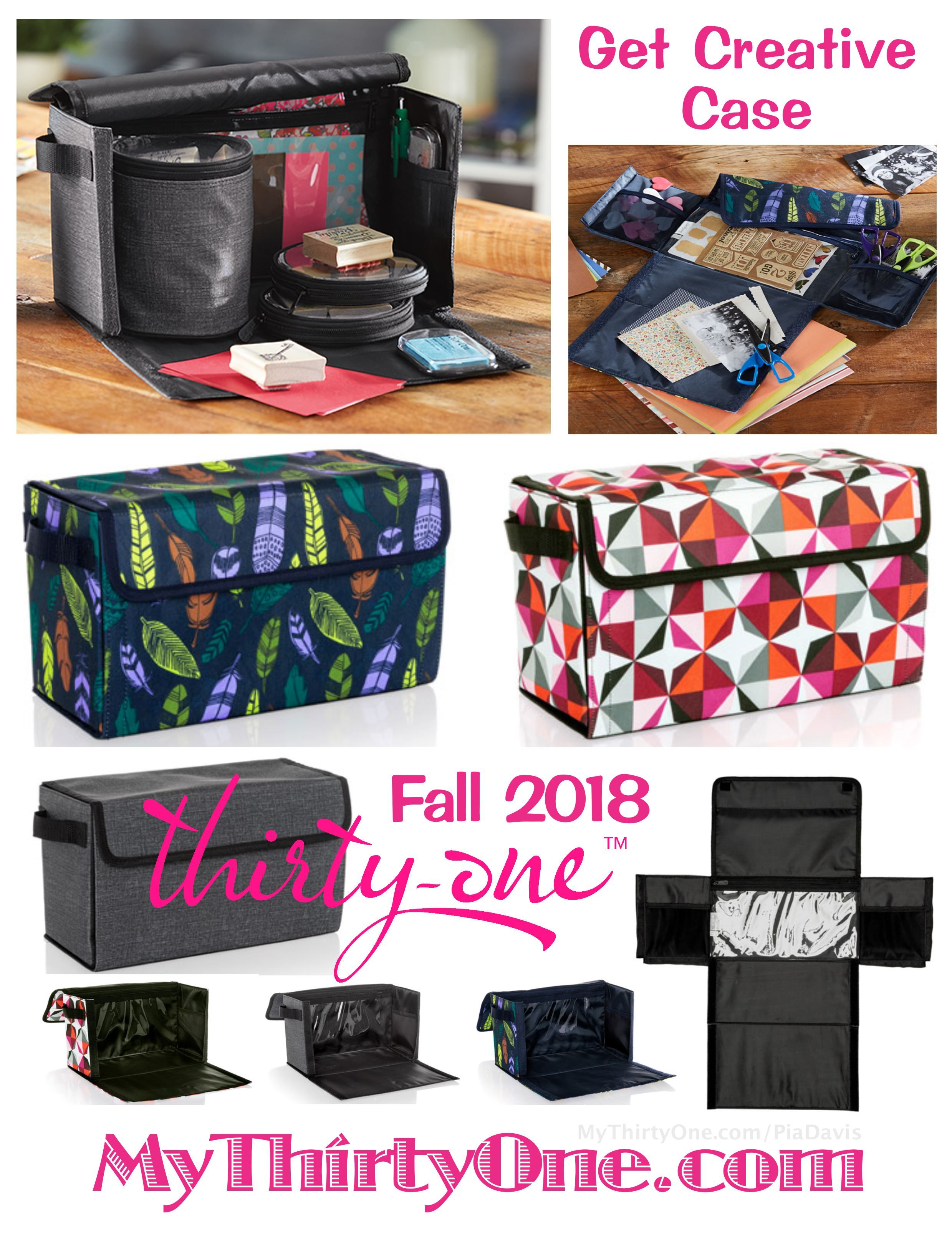b526ad392715 #31 GET CREATIVE CASE - Fall 2018 - All three new Thirty-One Gifts Craft  Totes come in Deco Diamond, Falling Feathers & Charcoal Crosshatch.