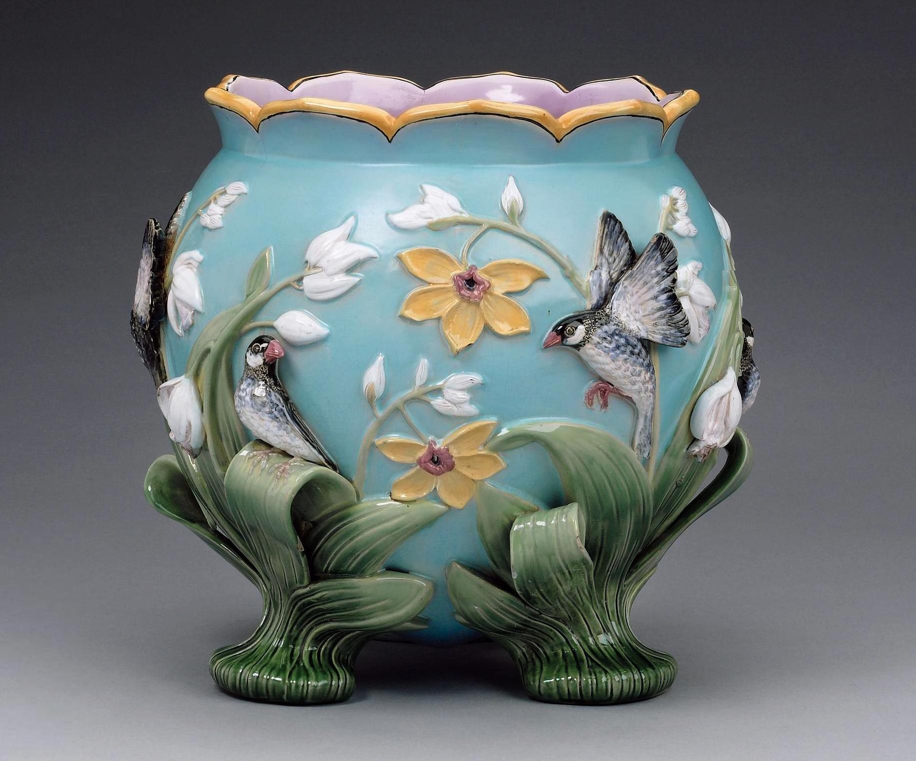 George jones majolica jardiniere cachepotsjardinieres vintage explore victorian vases pedestal stand and more reviewsmspy
