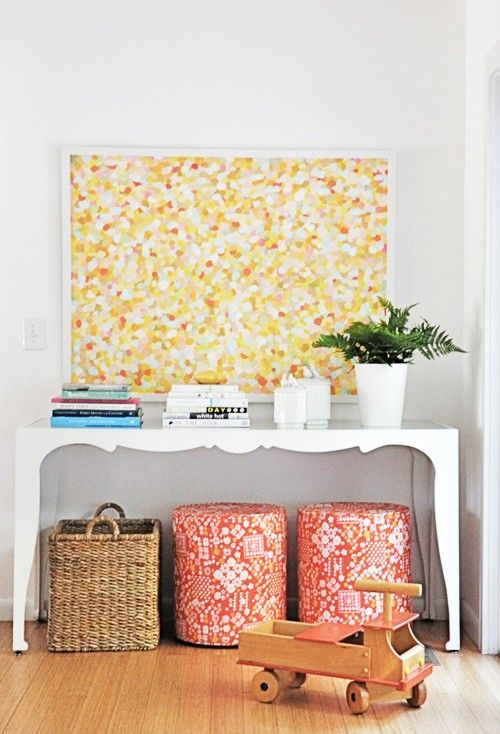 entryway idea: use the table for plants & keys/purse with storage ...