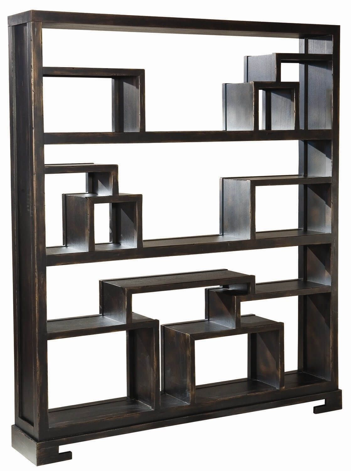 Backless Bookshelves This is an intricate 12-cube backless shelf with many sections - each a  different shape and size.