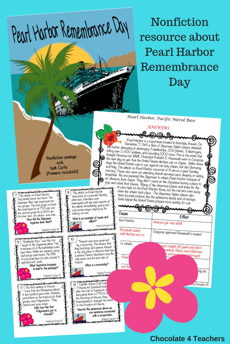 Pearl Harbor Nonfiction Passage And Task Cards Nonfiction Passages Task Cards Pearl Harbor [ 1102 x 735 Pixel ]