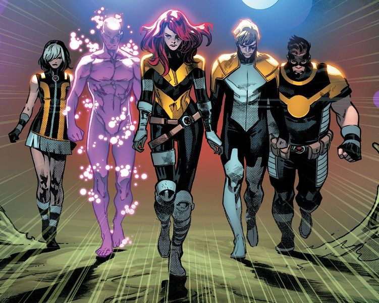 The Five Tempus Proteus Hope Summers Elixir And Goldballs From House Of X Vol 1 5 Xmen Comics X Men Superhero Design