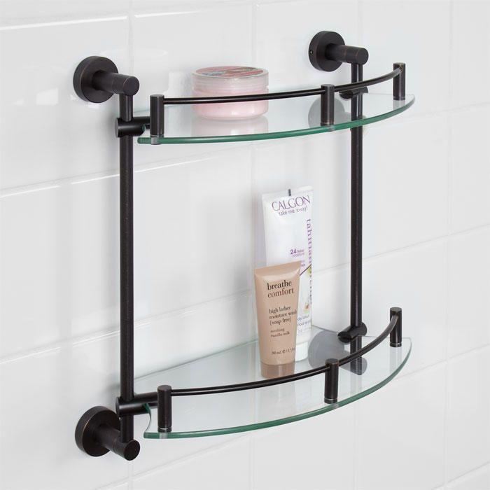 Bristow Tempered Glass Shelf - Two Shelf Glass corner shelves