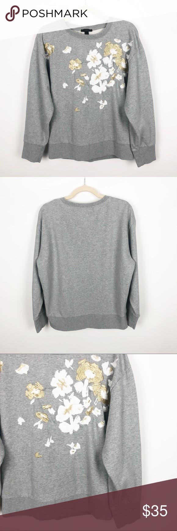 J Crew Embroidered Flower Sweatshirt Dressy Sweatshirt Flower Sweatshirt Sweatshirts [ 1740 x 580 Pixel ]