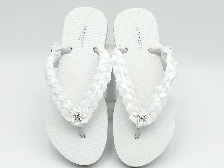 6cdee1dff2108b Bridal Flip Flops - Custom Flip Flops - Wedding Flip Flops - Beach Wedding  - White Flip Flops - Bridal Shower Flip Flops-Starfish by CrystalsByLola on  Etsy