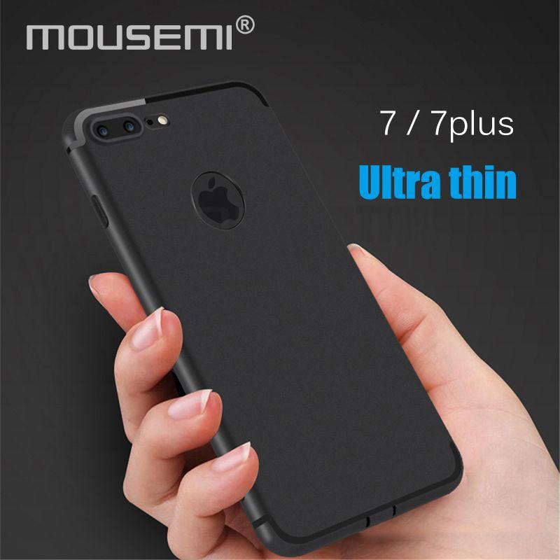 MOUSEMI For iPhone 7 Case Silicone Ultra Slim Soft TPU Matte Black ...