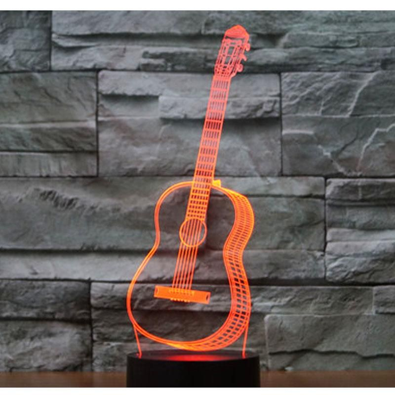 3d Led Hologram Night Light Music Guitar With 7 Colors Optical Illusion Is Awesome 3d Illusion Lamp 3d Led Night Light Led Night Light