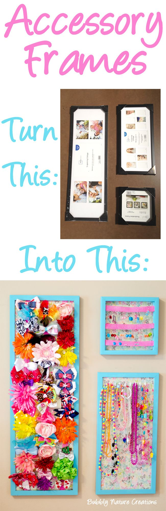How to organize hair bows - Use These Frames To Help Store And Organize Your Little Girl S Hair Bows Or Necklaces