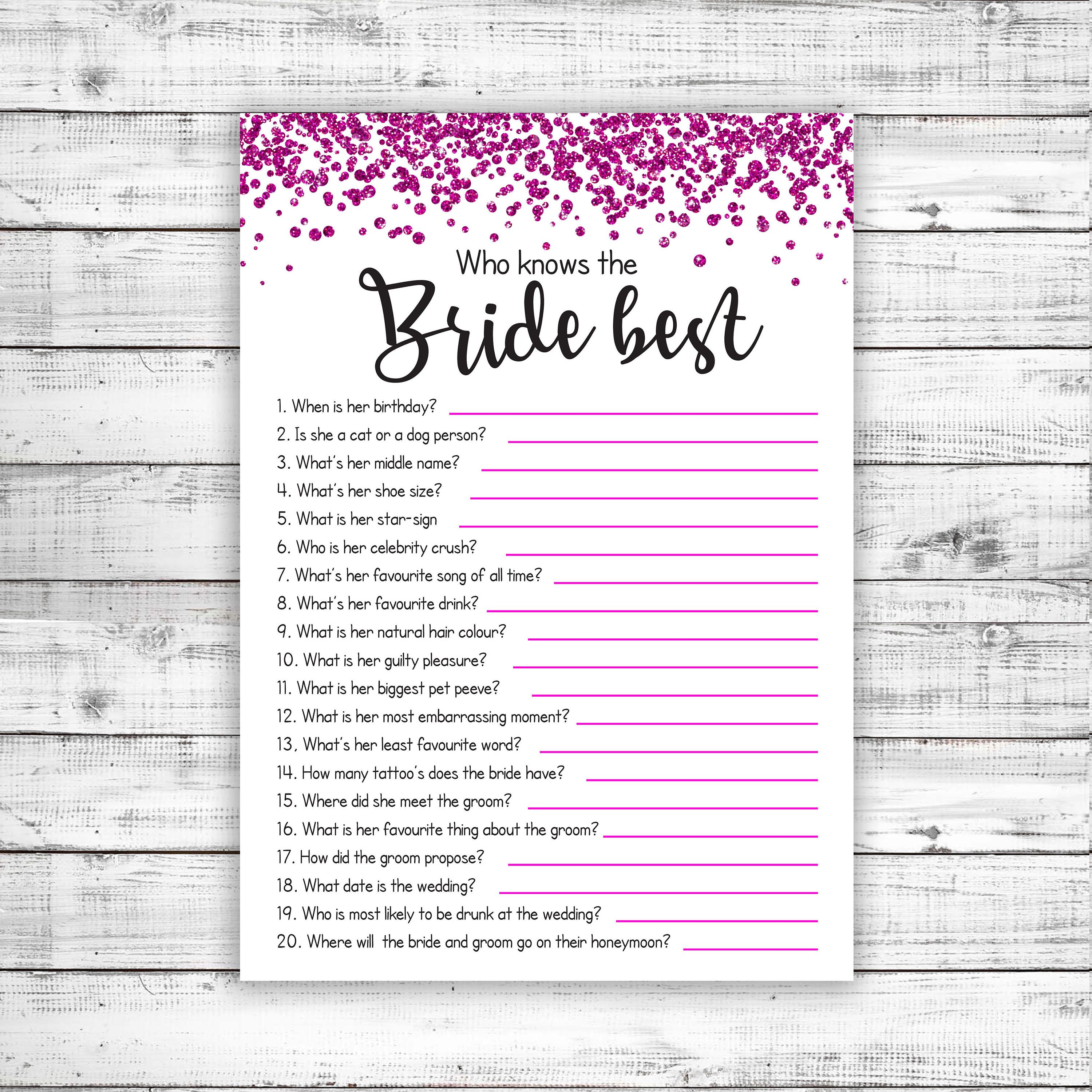 Who Knows The Bride Best Game A Hilarious Hen Do