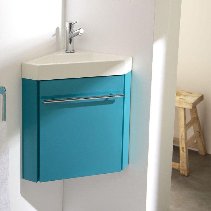 Lave mains d 39 angle avec meuble complet couleur vert lagon for Lave mains d angle avec meuble
